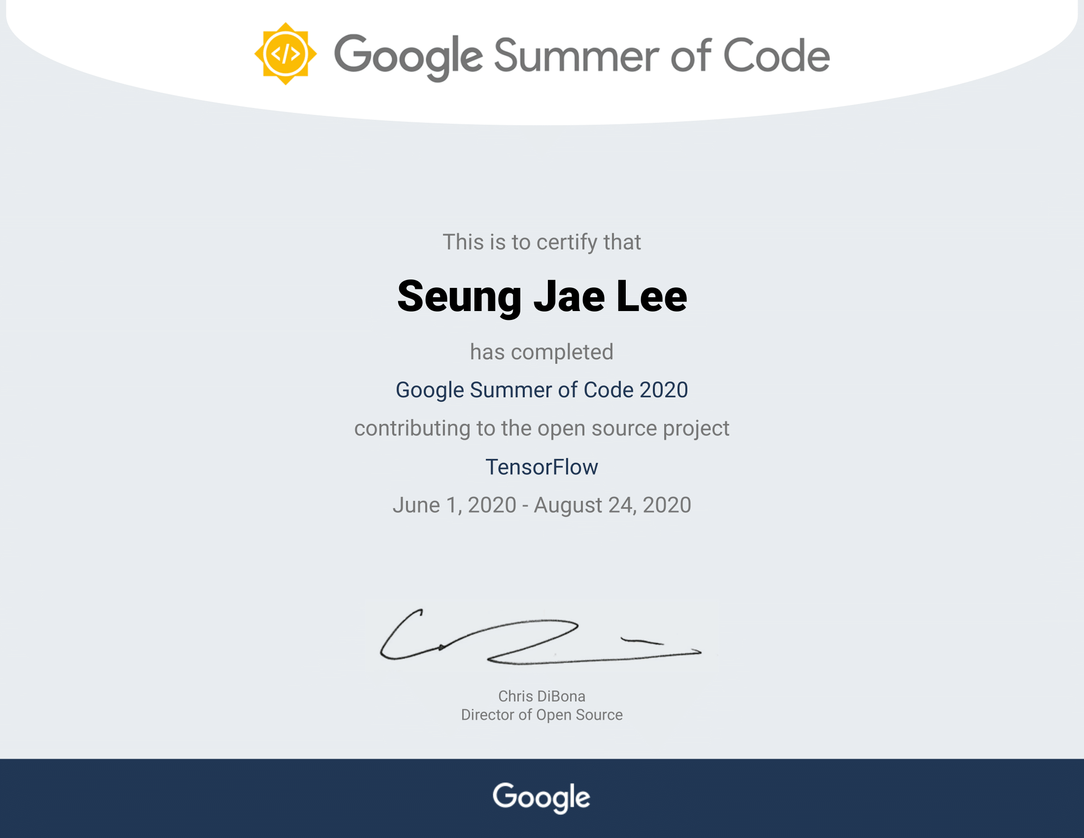 Google Summer of Code 2020 Completion Certificate